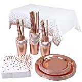 Topways® Rose Gold Party Tableware, Oro Rosa Party Set Piatti Tovaglia Tovaglioli Tazza Matrimonio Compleanno cannucce Set di Forniture per Festa Oro Rosa 16 Ospiti (Oro rosa)