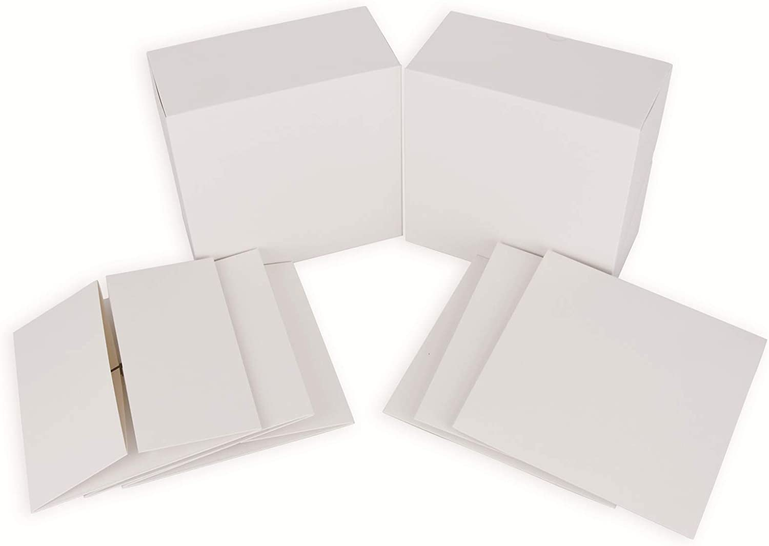 HUAPRINT White Gift Box 10 Sets 8x8x4 Cardboard Gift Boxes,Bridesmaid Proposal Box,Kraft Square Fold Box for Present Packaging,Holiday,Party,Birthday,Wedding,Crafting
