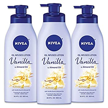 NIVEA Vanilla and Almond Oil Infused Body Lotion 50.7 Fl Oz Pack of 3