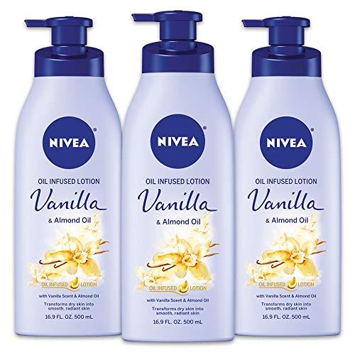 Nivea NIVEA vanille et l'huile d'amande infusée Lotion pour le corps - Absorbant rapide 24 heures d'humidité pour la peau sèche - 16.9 Oz. (Lot de 3)