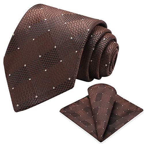 Vinlari Corbata Hombre Pañuelo Corbata Boda Conjunto Seda Pañuelo Negocio Tartán Elegante Estilo Casual Corbata Marron