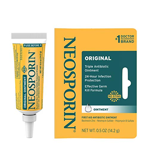 Neosporin Original First Aid Antibiotic Ointment with Bacitracin, Zinc for 24-Hour Infection Protection, Wound Care Treatment and the Scar Appearance Minimizer for Minor Cuts, Scrapes and Burns, .5 Oz