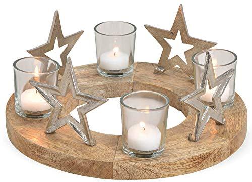Matches21 Couronne de l'Avent en bois avec étoiles en métal et verre Argenté/marron Ø 30 x 12 cm