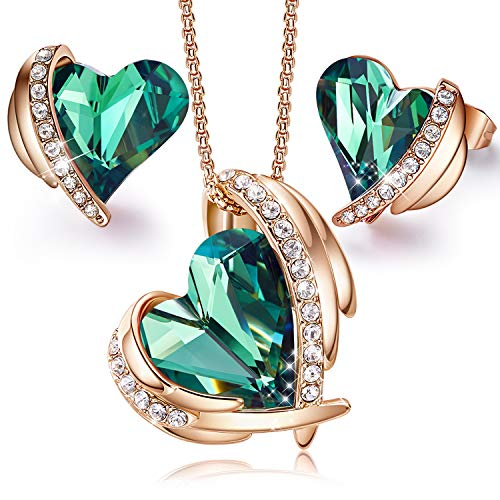 CDE Pink Angel Rose Gold Jewelry Set Mother's Day Gift Women Heart Pendant Necklaces and Stud Earrings Sets Birthday Best friend Mom Gift for Mother