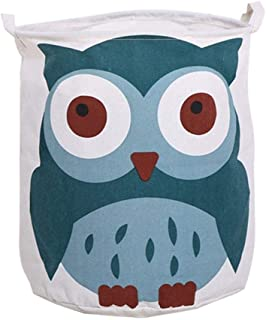 MissionMatch Large Capacity Laundry Hamper, Cute Collapaible Laundry Basket, Waterproof Owl Nursery Bin Storage Toy Organizer for Boys and Girls, 15.7