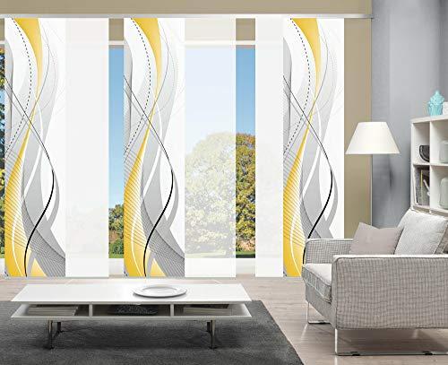 wohnfuehlidee 6er-Set Schiebegardine WuXi Blickdicht, Höhe 245 cm, gelb