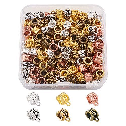 Cheriswelry 180 piezas de cuentas tibetanas para colgar tubos de metal, conectores espaciadores para pulseras europeas, 6 colores