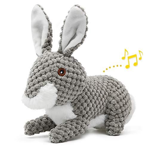 Iokheira Spielzeug für Hunde, Interaktives Ostern Hundespielzeug, stabiles Quietschende Hundespielzeuge mit Baumwollstoff und Knitterpapier, Kauknochenspielzeug für große und kleine Hunde (Grau)