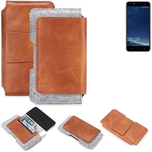 K-S-Trade Schutz Hülle Für M-Horse Power 2 Gürteltasche Holster Gürtel Tasche Schutzhülle Handy Smartphone Tasche Handyhülle PU + Filz, Braun (1x)