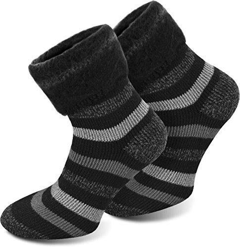 Polar Husky® 3 Paar Super Warme Thermo Socken! Vollplüsch/Perfekt geeignet für Stiefel Farbe Extrem/Hot/Schwarz gestreift Größe 39/42