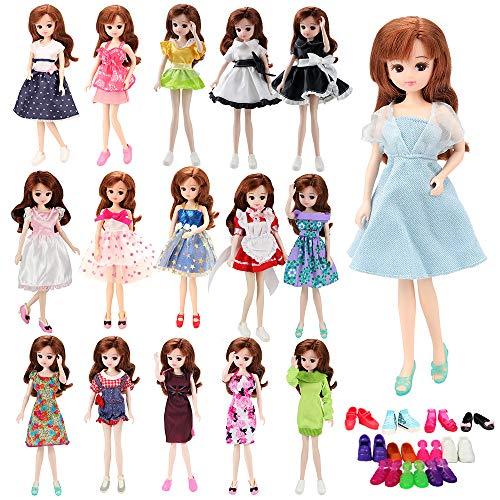 Barwa リカちゃん人形用ドレス リカちゃん用服 リカちゃん人形用洋服 6枚セット=3枚服+3ペア靴 22cmドールドレス 手作り クリスマス 女の子りかちゃん人形用 人形用洋服
