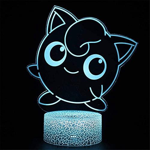Jigglypuff Lámpara de noche de ilusión 3D para niños, luz de noche de 16 colores, luz de aire caliente globo noche luz para cumpleaños vacaciones decoración regalo