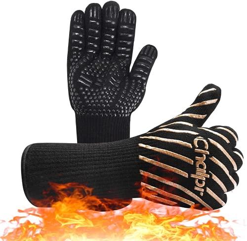 Chalpr - Guantes para barbacoa, guantes de horno, guantes de piel, resistentes al calor hasta 800 °C, guantes para hornear, guantes de cocina prémium para barbacoa y cocina (dorado)