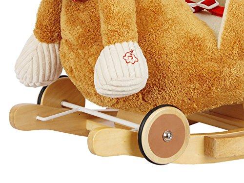 Dunjo® Schaukelpferd Plüsch | Baby Schaukeltier Pony | Für Kinder Jungen Mädchen 1 – 3 Jahre | mit Sicherheitsgurt Rollen und Musik - 3