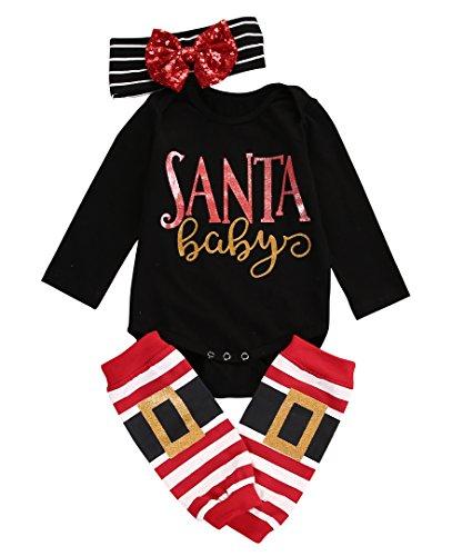 MA&BABY 3pcs Baby Girl Boy Cute Long Sleeve Romper Leg Warmers Hairband Outfits Christmas Set Black