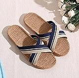 Zapatillas Casa Chanclas Sandalias Zapatillas De Lino para Hombre Chanclas De Playa Al Aire Libre para El Hogar De Lino-Azul_7.5