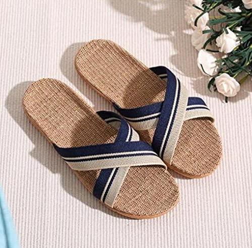 Zapatillas Casa Chanclas Sandalias Zapatillas De Lino para Hombre Chanclas De Playa Al Aire Libre para El Hogar De Lino-Azul_8