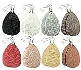 monochef Leather Earrings Lightweight Faux Leather Leaf Dangle Earrings Teardrop Earrings Antique Handmade Earrings for Women Gift, 8 Pairs