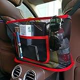 Fekey&JF Car Net Pocket Handbag Holder,Car Seat Back Organizer Mesh Large Capacity Bag for Purse Storage Phone Documents Pocket,Barrier of Backseat Pet Kids,Cargo Tissue Holder (Red-2)