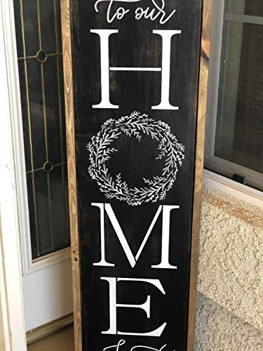 Ced454sy Welcome to our home sweet home, 122 x 30,5 cm, großes Holzschild, Heimdekoration, Veranda-Schilder, Terrassenschilder, süße Holzschilder, Kranzschilder