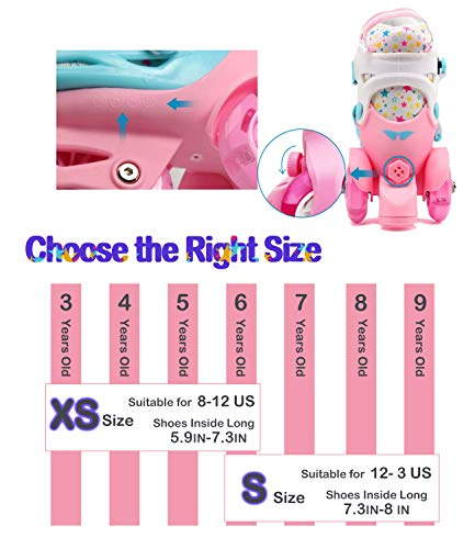 Adjustable Roller Skates for Kids Girls Ladies with Light Up Flash LED Wheels(Age 3-9),Fun Illuminating,Three-Point Type Balance,Gift Box Packing for Toddlers,Children,Youth, Teenagers(XS Size)