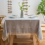 Pahajim Mantel Mesa Algodon Lino Manteles Cuadrada Diseño de Borlas Elegante Antimanchas Cubierta de Mesa Lavable Resistente para Decoración de la Mesa de Comedor(Celosía Gris,140x140cm)
