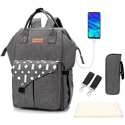 Multifunción pañal bolsa de pañales cambiador de viaje, gran capacidad mochila bolsa reutilizable, ligero elegante Durable Mochila con bolsillo botella aislante para mamá y papá (LD29 Gray)