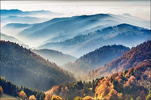 Muralo Fototapete Berglandschaft 270 x 405 cm Vlies Wand Tapete Berge Nebel Bäume Wohnzimmer Schlafzimmer Moderne Wandbild Landschaft Natur Wand Dekoration