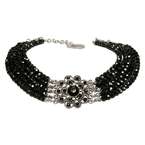 Alpenflüstern Perlen-Kropfkette Elvira - nostalgische Trachtenkette, eleganter Damen-Trachtenschmuck, Dirndlkette schwarz DHK201