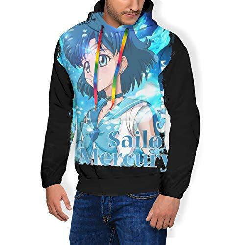 Super Sailor Mercury AKA Ami Mizuno Herren Fashion Sweatshirt Hoodie Kapuzenpullover Taschen plus Samt Gr. Large, Schwarz