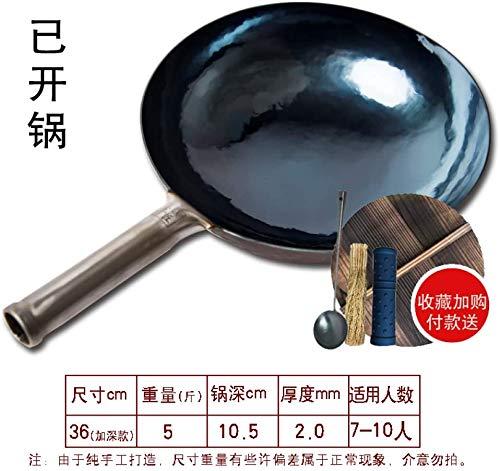51vsIW9lbAL. SL500  - Sooiy Authentischer Eisentopf Handmade Hot Forging Altmodische Hausmannskost Meister Woks Pans,36cm