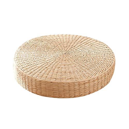 N / A 15,7'Sitzkissen aus gewebtem Stroh, handgefertigtes rundes Tatami aus Stroh, Futonkissen aus Stroh für Zen, Yoga...