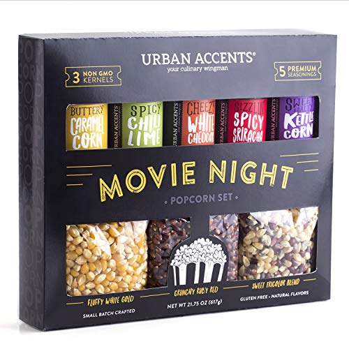 Urban Accents MOVIE NIGHT™ Popcorn Kernels and Popcorn Seasoning Pack (set of 8) - 3 Non-GMO Popcorn Kernel Packs and 5 Gourmet Popcorn Snack Seasoning- Perfect Christmas Gift for Popcorn Lovers