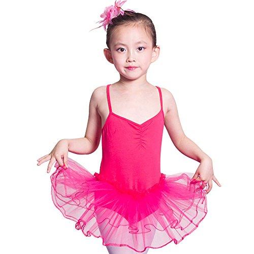 iMixCity Baile de Ballet Jersey Camiseta de Niña Maillot Traje de Ballet Leotardo Princess Girls Vestido de Pantera Falda de Tul Traje de Carnaval (Edad: 3-10 Años) (160 (8-10 Años), Rosa roja)
