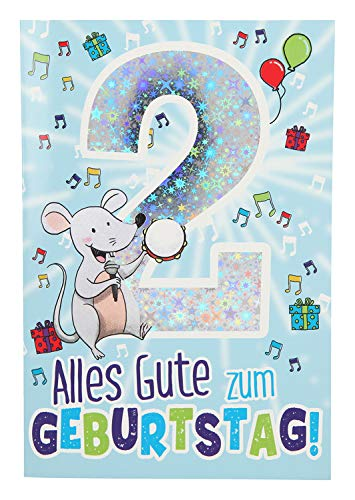 Depesche 5698.003 - Glückwunschkarte mit Musik, 2. Geburtstag, blau