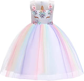 Girls Flower Unicorn Birthday Party Outfits Cosplay Costume Lace Tulle Princess Pageant Dress Dance Evening Gown