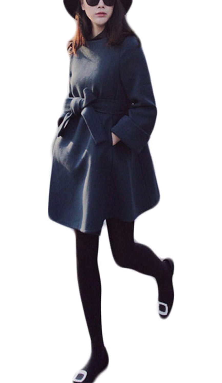 [トーダー] ラシャコート レディース チェスターコート 長袖 ボートネック ポケット リボン ベルト付き カジュアル 無地 アウター ゆったり 秋冬 ミモレ丈 防寒