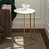 Walker Edison Furniture Company Modern Round Side End Accent Table Living Room, C, Marble/Gold