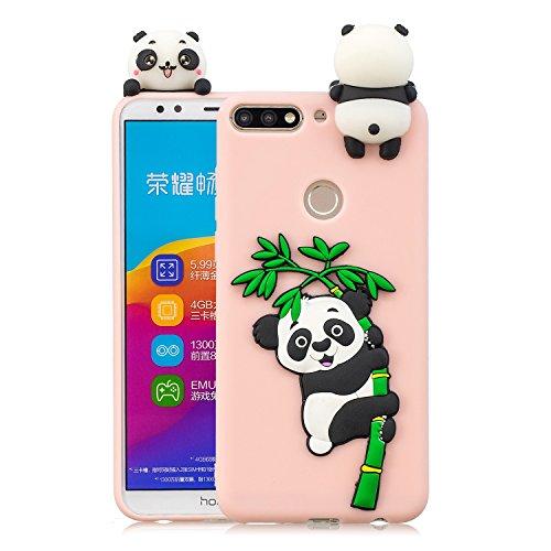 HopMore Silikon Schutzhülle für Huawei Y7 2018 / Honor 7C Hülle 3D Hüllen Kawaii Tier Muster Bumper Design Ultra Dünn Slim Handyhülle One Piece Hülle Cover für Huawei Honor 7C / Y7 2018 - Panda Rosa