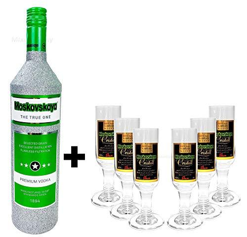 Moskovskaya Vodka Wodka 1l (38% Vol) Bling Bling Glitzerflasche in silber + 6x Moskovskaya Shotglas Gläser - 2 und 4cl geeicht - [Enthält Sulfite]