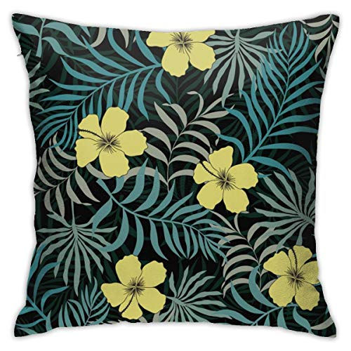 iksrgfvb Pillowcases Cushion Covers decoration Bark Tropical Background With Palm Leaves And Flowers. Seamless Floral on the Sofa car bed 45X45 CM