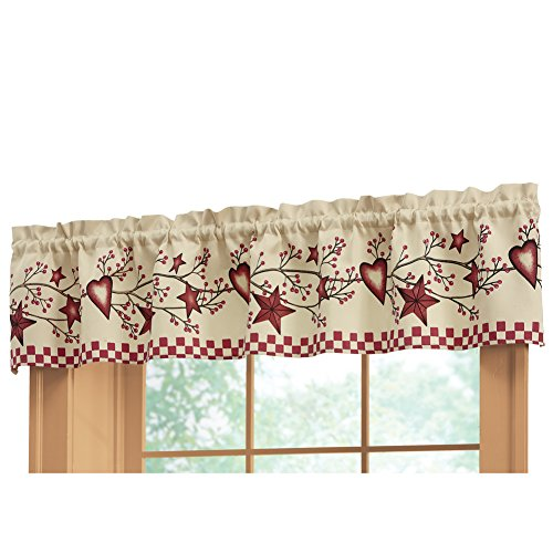 "Collections Etc Country Heart Checkered Rod Pocket Window Valance, 71"" W x 14"" L, Red"