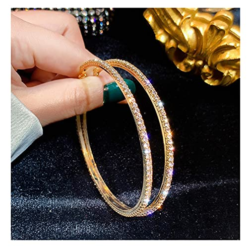 ABCBCA Moda Big Tondo Orecchini a Cerchio di Cristallo for Le Donne Geometric Strass Orecchini di Gioielli (Metal Color : Gold)