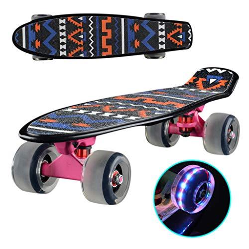 SHUANGA Komplette Cruiser Skateboard für Kinder Jugendliche Erwachsene, 7-Lagiger Kanadischer Ahorn Double Kick Deck Concave mit All-in-One Skate für Anfänger