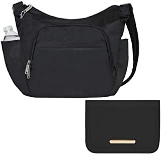 Travelon Anti-Theft RFID Classic Crossbody Bucket Bag with matching RFID Blocking Card Case Wallet