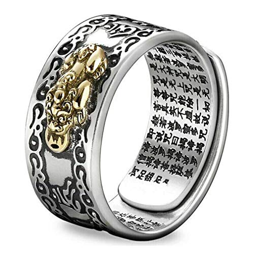 Feng Shui PIXIU MANI MANTRA Protection Wealth Ring - Amulet Wealth Lucky Open Adjustable Ring Buddhist Jewelry Ring - Adjustable Rings Jewelry for Men Women Teen Girls