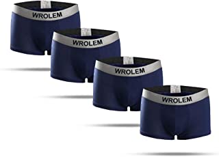 WROLEM Underwear 4 Pack Men's Comfortable Bamboo Fiber Breathable Boxer Briefs
