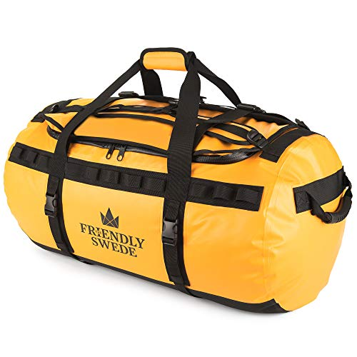 The Friendly Swede Wasserfeste Reisetasche Duffle Bag Rucksack - 30L / 60L / 90L - Seesack, Sporttasche Duffel Dry Bag mit Rucksackfunktion - SANDHAMN (Gelb, 90L)