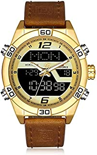 Naviforce Casual Watch For Unisex Analog-Digital Genuine Leather - 9128