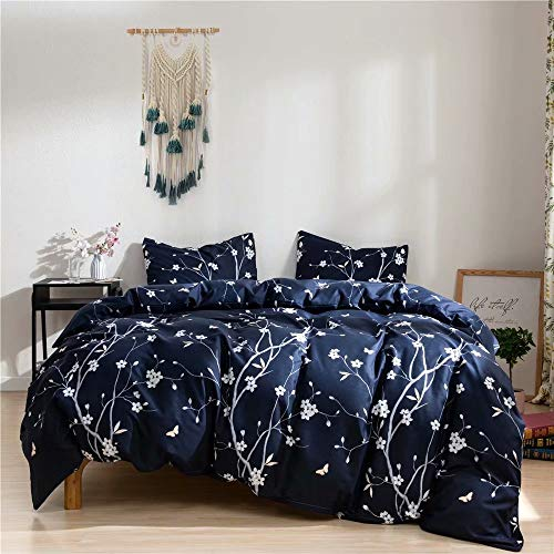 Ruccit Floral Duvet Cover Set King Navy Blue Boho Microfiber Duvet Cover King Bed for Adults Teens 3pcs Modern Bedding Duvet Cover Set with Zipper Closure-Ultra Soft,Durable,Fade Resistant